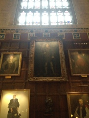 Speaking of, here's Henry's portrait -- rather familiar looking, no? -- hanging in the dining hall at Christ Church in Oxford. This is the dining hall on which the one at Hogwarts is based, but it does NOT have an enchanted ceiling.