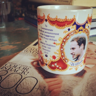 This mug commemorates William and Kate's engagement and I LOVE IT. Heather bought it for me for Christmas and it is probably my favorite of my mugs, although really that's like asking me which of my children is my favorite. Perhaps salient note: I have no actual children.